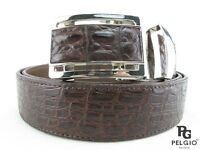 "PELGIO Real Genuine Crocodile Alligator Skin Leather Men's Belt 46"" Long Brown"