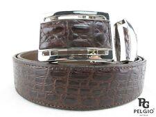 "PELGIO Real Genuine Crocodile Alligator Skin Leather Men's Belt 46"" Long Brown"