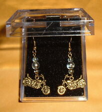 Gold Ptd MOTORCYCLE EARRINGS w/ 3 Lampwork Swirl Glass Bead NIB