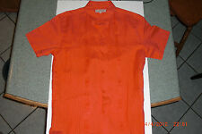 GUAYABERA SHORT SLEEVE COLOR SALMON 100% FINE LINEN HAND EMBROIDERED SIZE 40/L