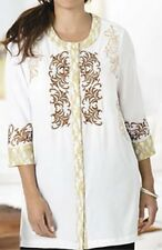 Ulla Popken Shades of Chic Beaded Boho Embroidered Tunic 16 18 1X NEW   ~~