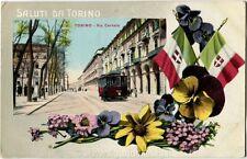 1914 Torino - Via Cernala Vecchio tram in arrivo Bandiere Fiori - FP COL VG ANIM