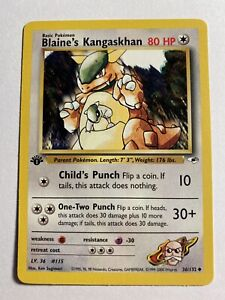 NM 1st Edition Blaine's Kangaskhan! Vintage Pokemon Card