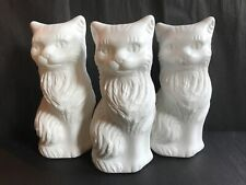 """Blow Mold White Plastic Cat Banks Decoration  11"""" Union Products LOT OF 3"""
