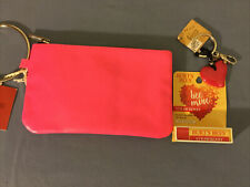 Massimo Supply Co Pink Wristlet Pouch & Keychain with Heart & Burts Bees