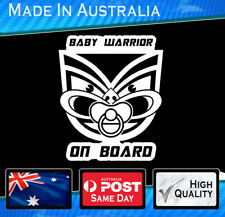 Baby on Board - Little warrior on board sticker Decal Funny White NRL Auckland