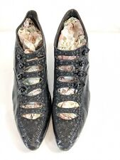 Antique Fancy Sorosis Multi-bar Strap Leather Black Beaded Button Up Shoes