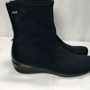 ecco Ankle Boots 39 Black Waterproof Stretch Pull On Leather Trim