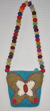 Butterfly NEPAL Felted WOOL Bag PURSE Rainbow BALL Strap AQUA Small READ Clean