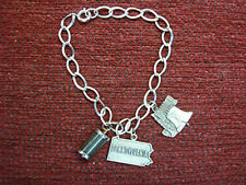 VINTAGE STERLING SILVER LINK BRACELET WITH PENNSYLVANIA CHARMS - NEAT!