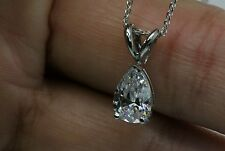"1.5Ct Solitaire Pendant Necklace And 18"" Chain Solid 14k White  Gold Pear Shaped"