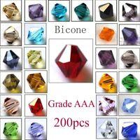 200 Stück Glasslperlen Kristall Glasschliffperlen BICONE Rhomben Perlen,4mm
