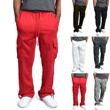 Men Drawstring Elastic Waist Solid Color Pocket Trousers Loose Cargo Sweatpants