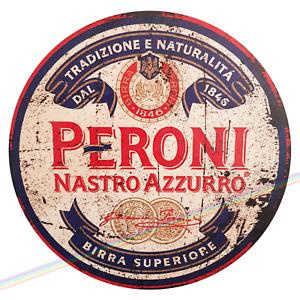 Circle Wooden Signs - PERONI Mancave Vintage Retro Wood Bar Pub Lager Beer Sign