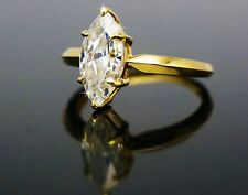 MARQUISE CUT SOLITAIRE ENGAGEMENT RING REAL 14K YELLOW GOLD 2.0CT WEDDING