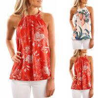 Women Summer Sleeveless Halter Neck Floral Print Cami Tank Tops Casual Blouse