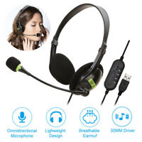 USB Stereo Headset Earphone Telephone Headphone with Mic for Computer Laptop PC