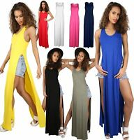 Ladies T Shirt Hugh Womens Racer Side Slit Cut Out Back Muscles Maxi Dress Top