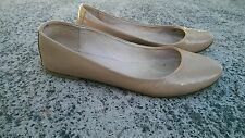 WITCHERY Leather Patent Beige Ballet Flats Shoes Size 38