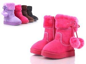 Fuchsia Side Zipper Pompom Baby Toddlers Kids Girls Faux Fur Booties Size 9