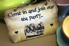 COME IN AND JOIN OUR TEA PARTY -Vintage Alice in Wonderland Sign- Decoration