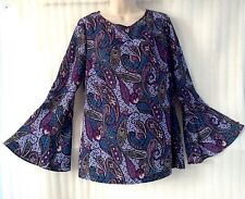 Eci N.Y Women Purple Blue Paisley Blouse size 12/14/L New Peasant Shirt Boho Top