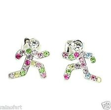 W Swarovski Crystal Runners Girl Boy Multi Color Jewelry Earrings