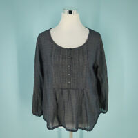 Denim Supply Ralph Lauren Size Large L Top Front Button Pleated Pullover Black