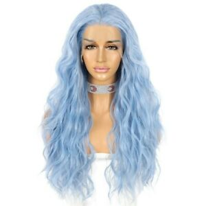 24inch Synthetic hair Lace front wigs Women Light Blue Long Wavy Curly Handtied
