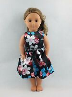 Ladybird Flowers Pattern Bow Dress Skirt For 18''American Girl Doll Clothes Gift