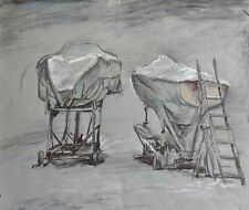 SAILBOATS HIGH AND DRY ON SHORE  seascape by Leonid STROGANOV, Original pastel.