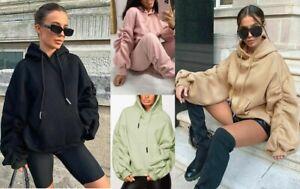 Womens Ladies Oversized Hoodie Ruched Sleeve Baggy Hooded Jumper Sweatshirt Top