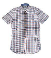 Ted Baker Rojo Blanco y Azul Cuadros Manga Corta Camisa Slim ~ Talla 1 Hombre XS