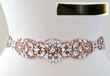 """Wedding Sash Belt - Rose Gold Opal Crystal Pearl BELT = 15 3/4"""" long = BLACK"""