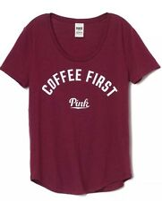 NEW Victoria's Secret PINK COFFEE FIRST Russian Ruby Maroon White Shirt M Medium