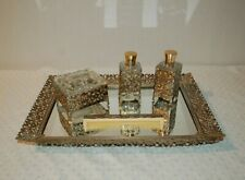 Vintage 5-Piece Vanity Set(Mirrored Tray/ 2 Perfume Bottles/Powder Dish & Comb