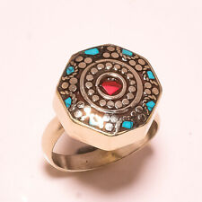 Red Coral Tibetan Turquoise Gemstone Jewelry Adjustable Nepali Ring RD-49