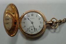 "Antique Waltham Pocket Watch Chain 55"" Gold Filled 7 Jewels 1903 Art Nouveau"