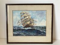 Antique Original Watercolour Painting Nautical Ship By Mary Baker 1941 Vintage