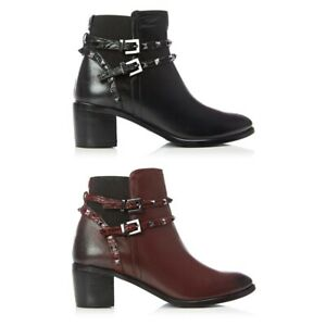 Moda In Pelle Ladies Womens Stylish Black Burgundy Leather Strap Ankle Boots New