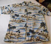 Mens Pierre Cardin L large Hawaiian button up shirt cotton Tropical EUC SS