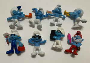 """SMURFS LOT (8) McDonalds 2.5"""" Figures 2011 Happy Meal Toys Loose"""