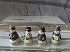 New Snowmen Tea Light Candles Set of 4 Christmas Tree Holiday Decor Vintage