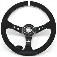 KODE-350mm Deep Dish Suede Steering Wheel WHITE Stitching Fits MOMO OMP Boss Kit