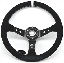 KODE-350mm Deep Dish Suede Steering Wheel WHITE Stitching Fits MOMO OMP Boss Kit