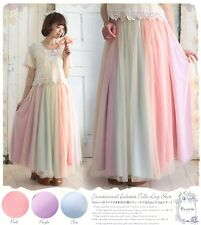 Japanese Mori Girl Sweet Lolita rainbow stitching gauze long skirt