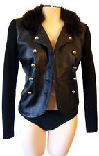 LEATHER military faux fur sweater jacket coat marching band uniform blazer pea