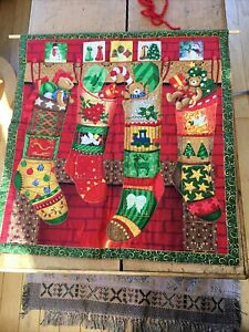 Hand Made Fabric Christmas  Stocking Quilted Advent Calendar Hand stitched,new