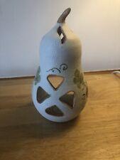 Pottery Pear Tea Light Holder Grapevine Design
