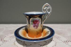 Vintage Continental Porcelain Demitasse Cup & Saucer - Floral Gilt - Gc